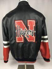 Nebraska Huskers Leather Red Black Bomber Jacket Football GIII Mens M Medium