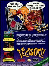 1993 Ren & Stimpy VEEDIOTS Super Nintendo SNES video game magazine print ad page