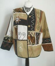 Indigo Moon size XL jacket leopard animal print embroidered detail NWT