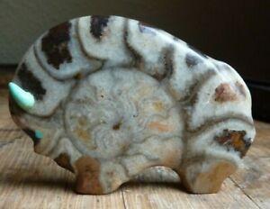 Lynn Quam ZUNI Fetish Carved Stone Buffalo - Signed