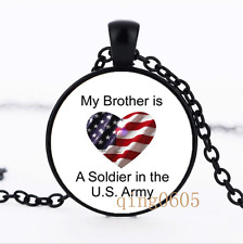 My Brother is a Soldier in Glass Dome black Chain Pendant Necklace wholesale