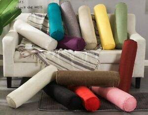 Linen Round Pillow Cervical Roll Neck Back Knee Bolster Washable Cover H_242