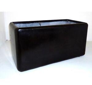 100cm CLEARANCE Black/Lead Fibreglaze Big Trough Planter/Plant Pot Box