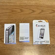 Black iPhone 4S 16GB Box Only With Manual & NEW ZAGG Invisible Shield Dry Screen