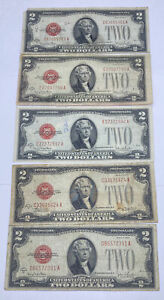 FIVE (5) 1928 TWO ($2) DOLLAR RED SEAL WILL PAY TO BEARER ON DEMAND NOTES