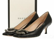 "NEW GUCCI BLACK LEATHER DIONYSUS DETAIL 2"" HEELS LOAFERS PUMPS  SHOES 36/US 6"