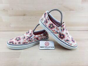 Vans White Floral Slip On Sneaker Athletic Shoes - Size Women's 9 / Men's 7.5