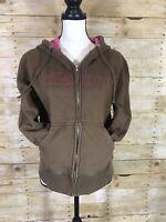 BILLABONG Womens Juniors Size XL Full Zip Hoodie Jacket Sweatshirt Brown Pink