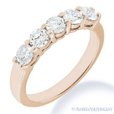 Round Cut Moissanite Shared 4-Prong Ring 5-Stone Wedding Band in 14k Rose Gold