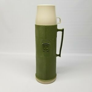 Vintage Olive Green Tan Thermos 24F Filler 722 Stopper 84A73 Cup