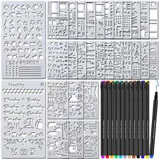 42 Pcs Journal Planner Stencils Plastic Stencils 12 Color Fineliner Pens DIY