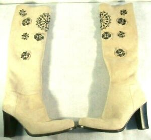 Prada Womens Cream Shearling Embellished Jewels Tall Pull On Heel Boots 36 1/2