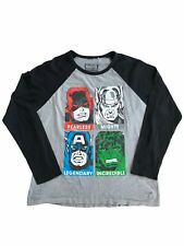 Marvel Super Heroes Graphic T-Shirt Size L Black Grey Long Sleeve Crew Neck