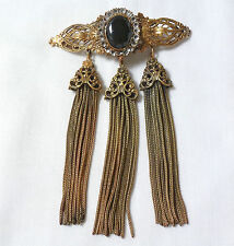 RARE VTG Joseff of Hollywood large 3-TASSEL BROOCH w/faceted black glass stone
