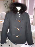 NEW MICHAEL KORS BLACK COAT  Wool FOX Fur Collar JACKET SIZE 10 TOGGLE CLOSURE