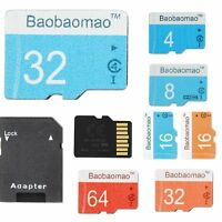 LOT Micro SD Card 4/8/16/32/64GB TF Flash Memory Card Adapter Camera Phone AS