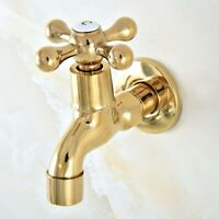 Gold Color Brass Wall Mount Mop Pool Faucet Laundry Sink Water Taps aav142