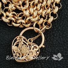 "9K 9CT GOLD GF Ladies HEART Padlock Belcher LINK CHAIN Long NECKLACE S30 24"""