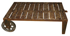 INDUSTRIAL COFFEE TABLE IRON WHEELS 120CM ACACIA FURNITURE SHABBY CHIC WOOD NEW