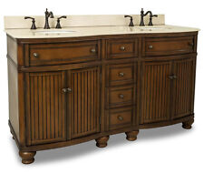 "60"" 4 Drawer Double Bathroom Vanity Sink Cabinet Brown Finish with Cream Marble"