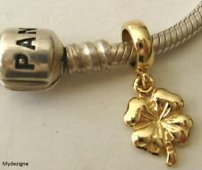 SOLID 9K 9ct YELLOW GOLD CHARM BEAD with 3D FOUR 4 LEAF CLOVER DROP GOOD LUCK