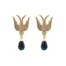 Boucles d`Oreilles Clous Doré Oiseau Goutte Bleu Marine Vintage Baroque XX19
