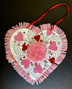 "Valentine wood plaque, 9"" heart with ribbon trim, flower, hearts and gems, pink"