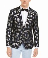INC Mens Blazer Black Size Medium M Slim Fit Jacquard Printed Metallic $149 #089