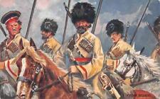 RUSSIA COSSACKS CAVALRY SOLDIERS GUNS MILITARY RAFAEL TUCK POSTCARD (c.1910)