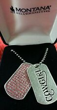 Montana Silversmith Silver Cowgirl Dogtags Pink Rhinestones NC1193 Necklace