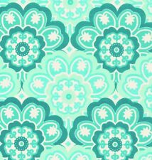 Michael Miller Retro Blossoming Flower Peacock Green on White Cotton Fabric - FQ