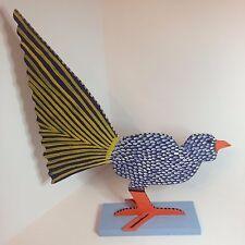 Marvin Finn Handmade Urban Folk Art - Purple, Yellow & White Wood Bird - 1989