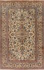 Vintage Classic Hand-Knotted Ivory Ardakan Traditional Area Rug 6x10 Wool Carpet