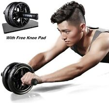 AB Abdominal Roller Power Wheel Exercise Gym Fitness Equipment Free Knee Pad