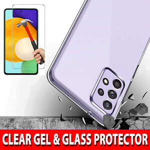 For Samsung Galaxy A52 5G Case Clear Gel Cover & Tempered Glass Screen Protector