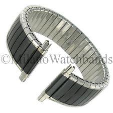 16-22mm Hadley Roma Twist-O-Flex SilverTone Black Coated Romunda Watch Band 7276