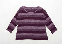 Marks & Spencer Womens Size 14 Striped Cotton Blend Purple Top (Regular)