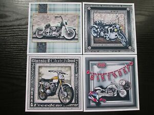 4 x  MOTORBIKES HARLEY Etc  Mens/ Boys  Card Toppers & Sentiments--set 1