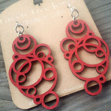 BUBBLE Green Tree Jewelry laser-cut wood earrings CHERRY RED circles 1126