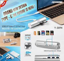 New Unitek Y-3094 Type-C USB 3.0 3 Port USB Hub, Card Reader