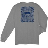 Guy Harvey Mens Fishing Boat Pocket T-Shirt..Pick Size.Moonshine L/S.OXHR Grey