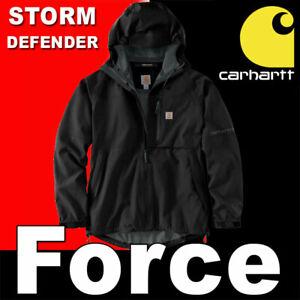 CARHARTT FORCE STORM DEFENDER HOODED WATERPROOF RAIN JACKET BLACK MAGIC CUFFS M