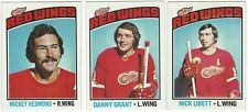 10 1976-77 TOPPS HOCKEY DETROIT RED WINGS CARDS (REDMOND/GRANT+++)