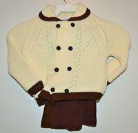 Vintage 2 Piece Little Angel Boy's Beige & Brown Sweater & Pants Set 12 Mos. NOS