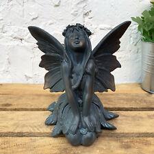 Resin Sitting Flower Fairy Outdoor Garden Decorative Figure Ornament Sculpture C