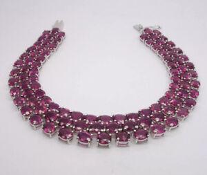 Pink Topaz 3 Row Bracelet - 9ct White Gold - 185x13mm