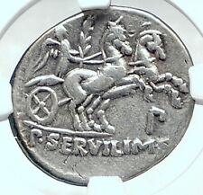 Roman Republic 100BC Ancient Silver Coin w MINERVA VICTORY CHARIOT NGC i78051