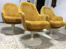 1 X Vintage orginal 70er Sessel Gelb Drehsessel Cocktailsessel Drehstuhl 1 von 4