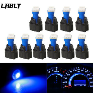 10PCS T5 PC74 Instrument Panel Gauge Cluster Blue Led Light Bulb+Twist Socket