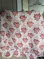 "Antique French Quilt Red Roses & Gray Panel Decorative Interior Antique 78""X 54"""